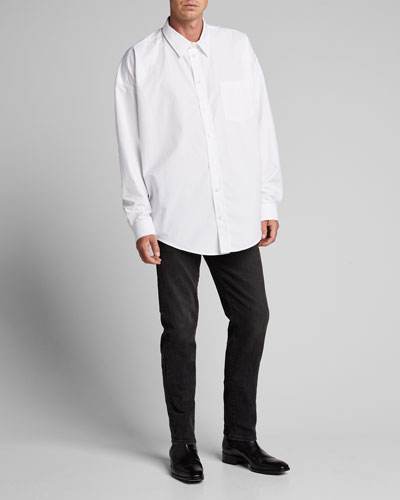 Men's Cocoon-Shape Poplin Sport Shirt