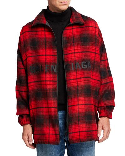 Men's Plaid Wool Cocoon Zip-Front Anorak Jacket