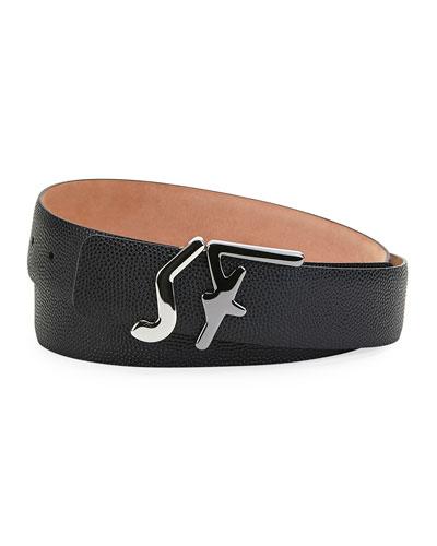 Men's Signature-Buckle Grained Leather Belt