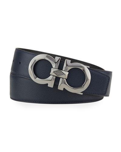 Men's Gancini Pebbled Leather Belt