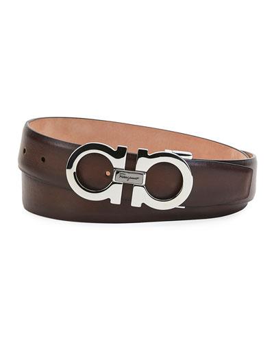 Men's Gancini Smooth Leather Belt