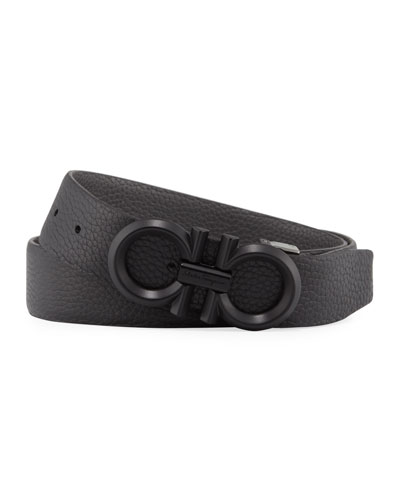Men's Reversible Textured Leather Belt with Beveled Gancini Buckle