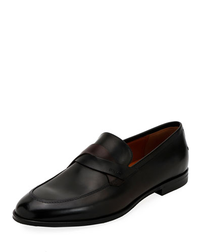 Men's Welney Crisscross-Strap Leather Loafers