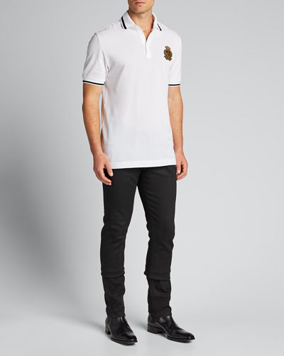 Men's Crest-Detail Pique Polo Shirt