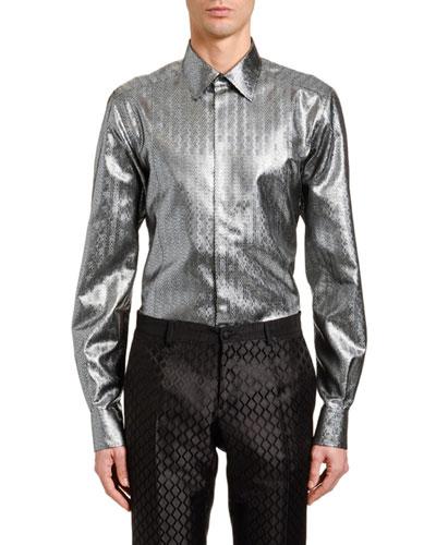 Men's Metallic Chevron Jacquard Sport Shirt