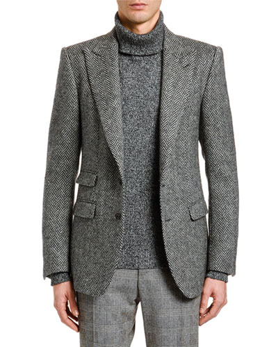 Men's Herringbone Wool Two-Button Jacket