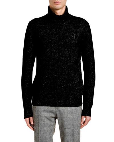 Men's Melange Cashmere Turtleneck Sweater