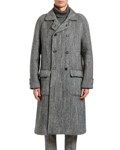 Men's Herringbone Oversized Wool Coat