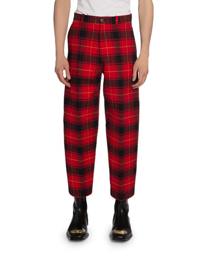 Men's Relaxed-Fit Plaid Cropped Pants