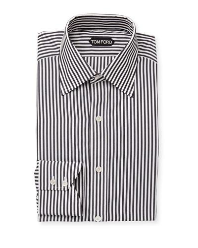Men's Classic-Collar Striped Dress Shirt