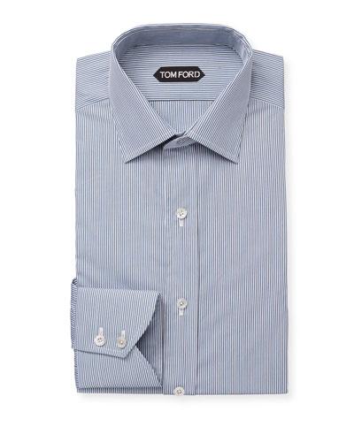 Men's Classic Small-Collar Striped Dress Shirt