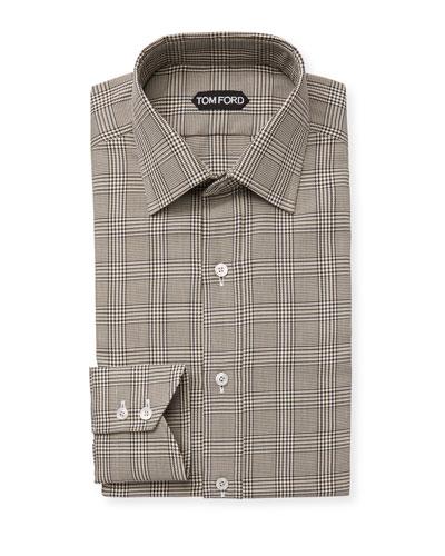 Ralph Lauren Purple Label Blue Plaid Cotton Stretch Dress Shirt New $595