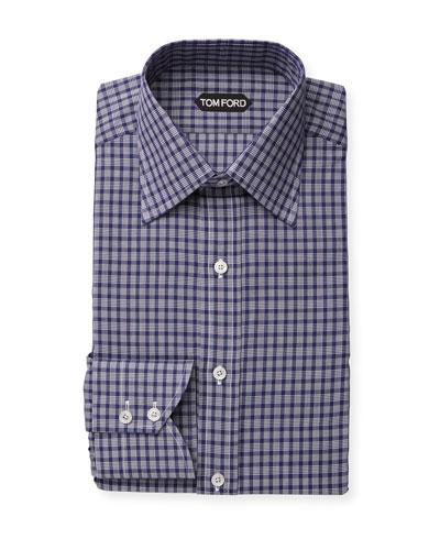 Men's Classic-Collar Check Dress Shirt
