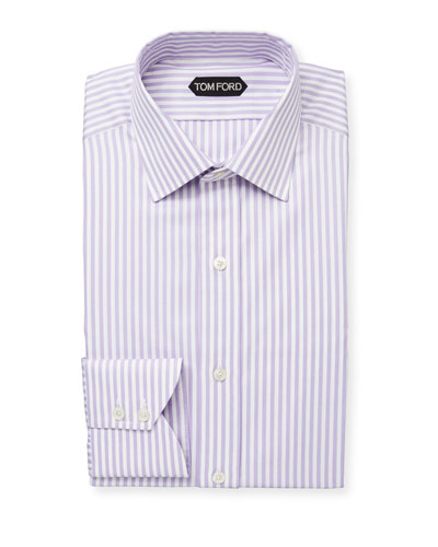 Men's Classic Small-Collar Striped Herringbone Dress Shirt