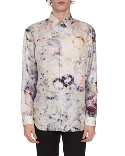 Men's Marble-Print Silk Sport Shirt, Multi