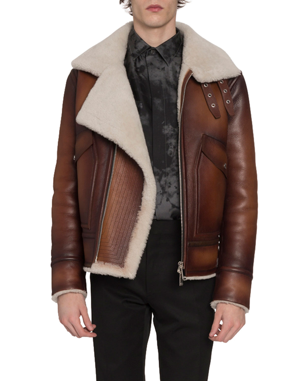 Berluti Jackets MEN'S LEATHER & SHEARLING JACKET WITH ASYMMETRICAL ZIP FRONT