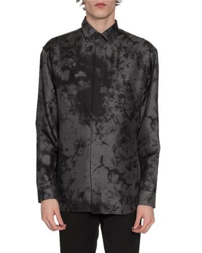 Men's Marble-Print Silk Sport Shirt, Gray