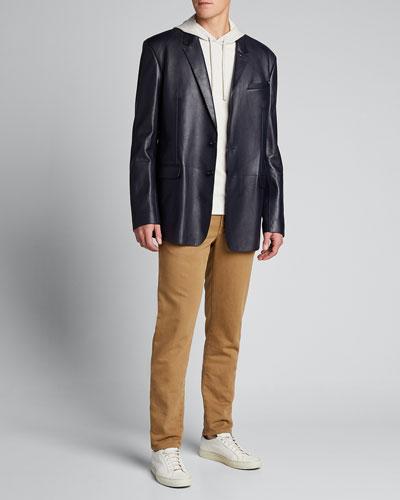 Men's Leather Two-Button Blazer