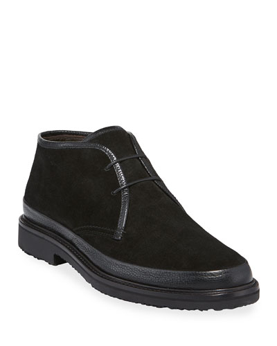 Men's Trivero Suede Chukka Boots with Mud Guard, Black
