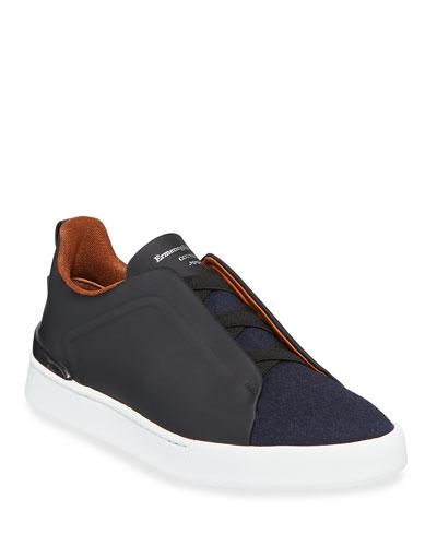 Men's Triple-Stitch Leather & Wool Sneakers