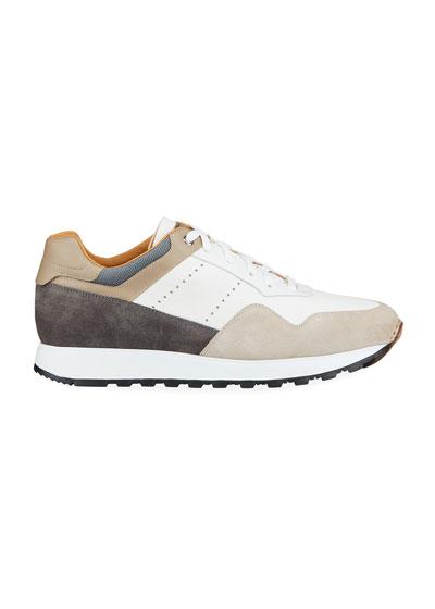 Men's Colorblock Leather/Suede Runner Sneakers
