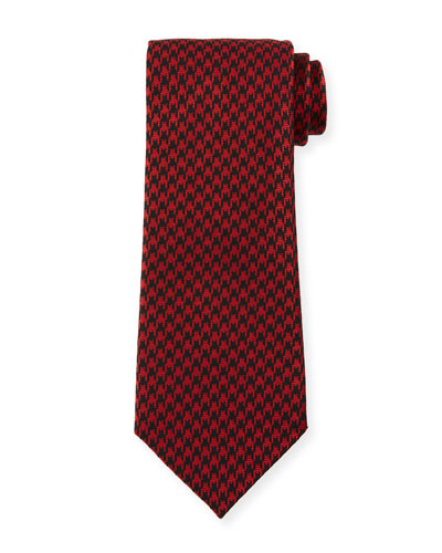8cm Large Houndstooth Tie, Red