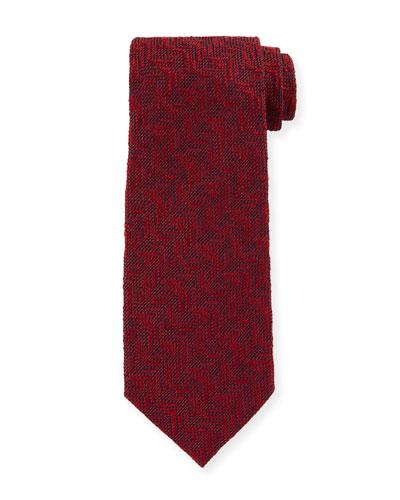 Textured Chevron Silk Tie, Red