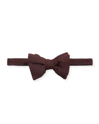 Men's Textured Silk-Blend Bow Tie