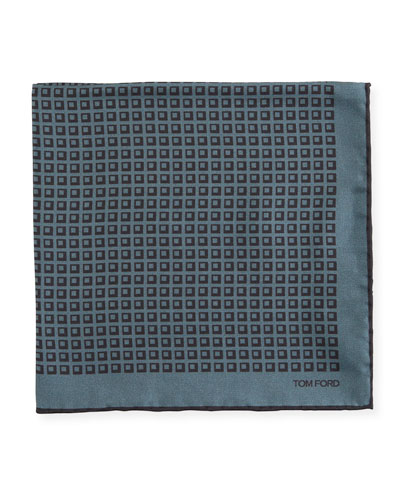 Men's Silk Square-Motif Pocket Square