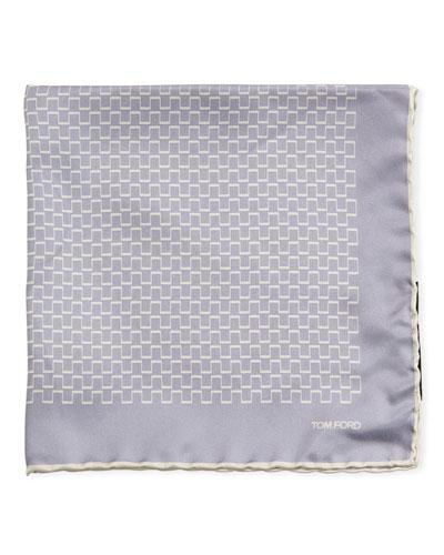 Men's Geometric Silk Pocket Square, Light Purple