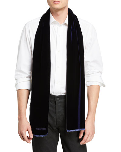 Men's Velvet Evening Scarf, Purple