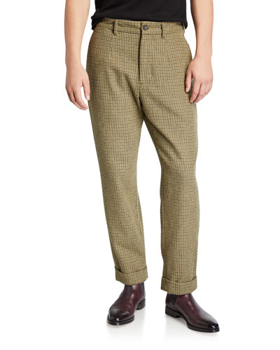Men's Andover Check Pleated Pants, Green/Brown