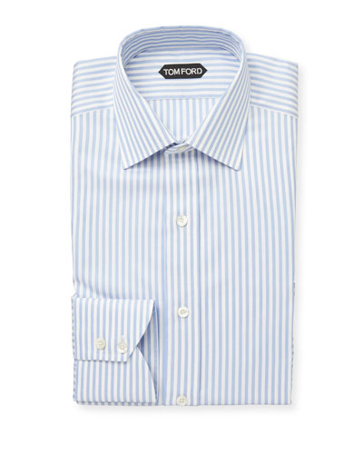 Men's Classic Small Collar Striped Dress Shirt