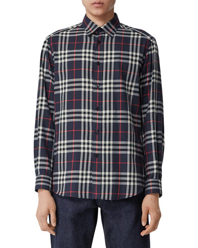 Men's Chambers Check Flannel Sport Shirt, Navy