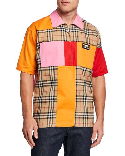 Men's Patched Vintage Check Half-Zip Sport Shirt