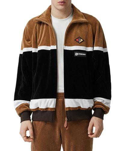 Men's Velour Icon Stripe Track Jacket