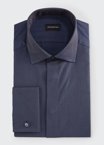 Men's Solid Melange Trim-Fit Dress Shirt
