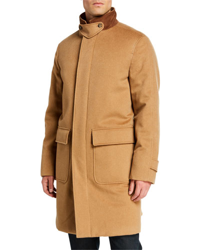 Men's Livingstone Cashmere Topcoat with Suede Collar