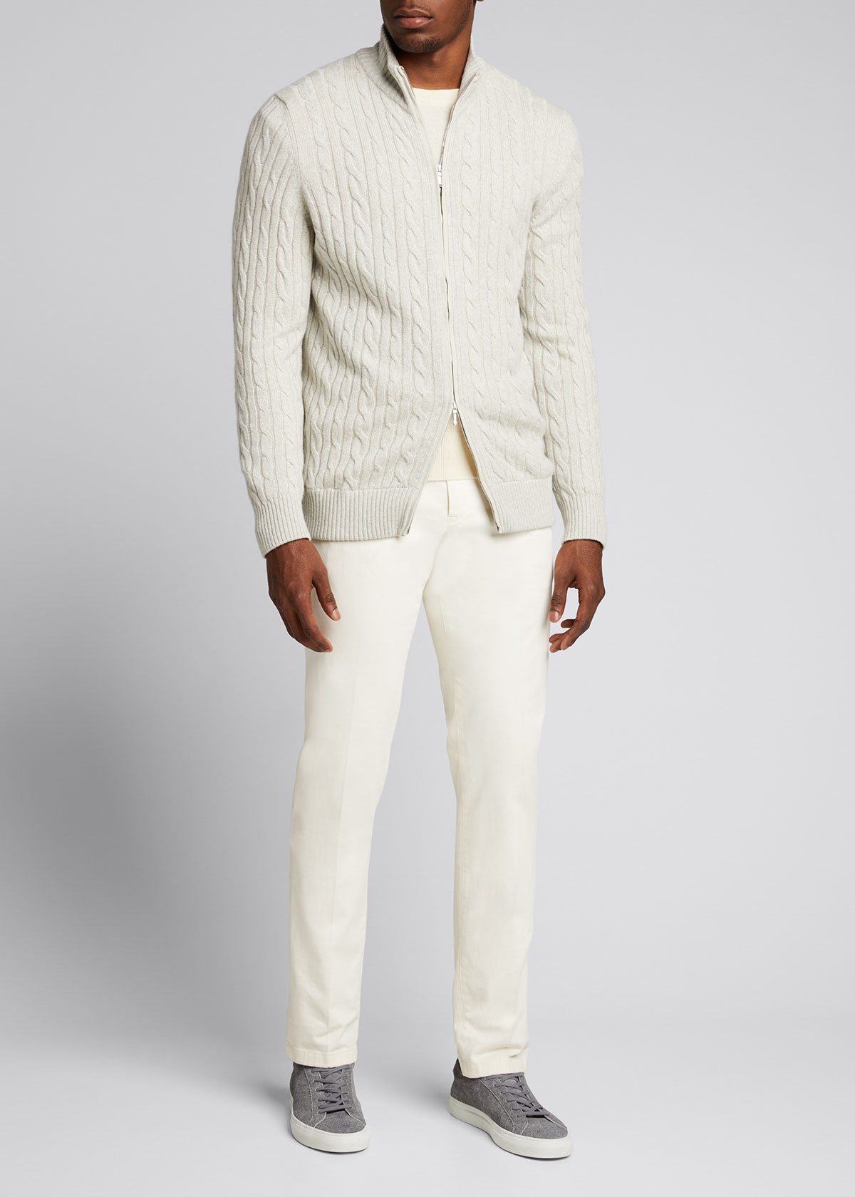 Loro Piana Knits MEN'S CABLE-KNIT CASHMERE ZIP-FRONT SWEATER