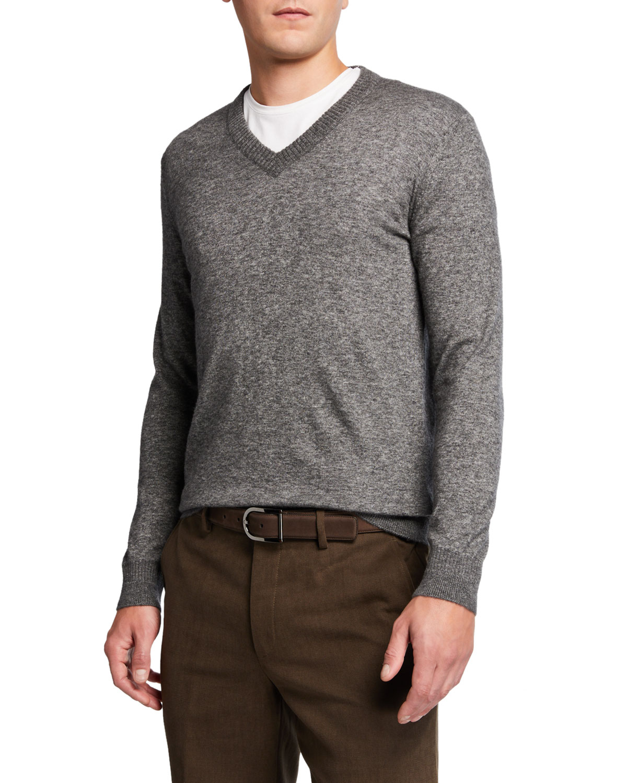 Loro Piana Sweaters MEN'S CASHMERE-SILK V-NECK SWEATER