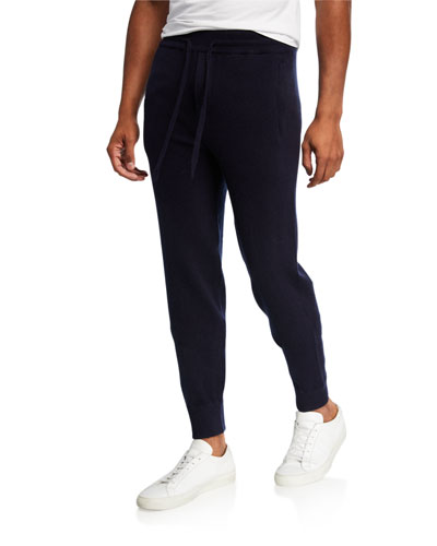 Men's Solid Wool-Cashmere Jogger Pants