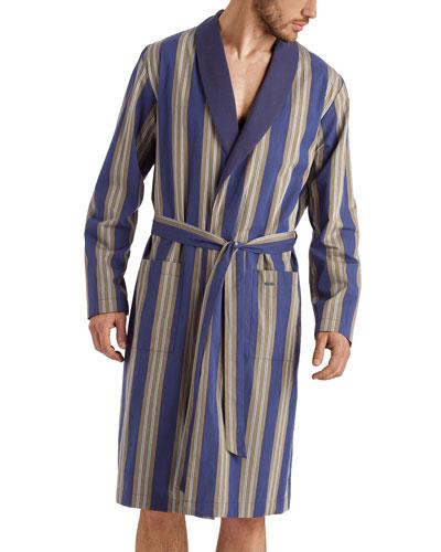 Men's Night & Day Striped Cotton Robe
