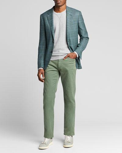 Men's Plaid Two-Button Patch-Pocket Jacket
