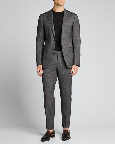 Men's Solid Melange Wool Two-Piece Suit