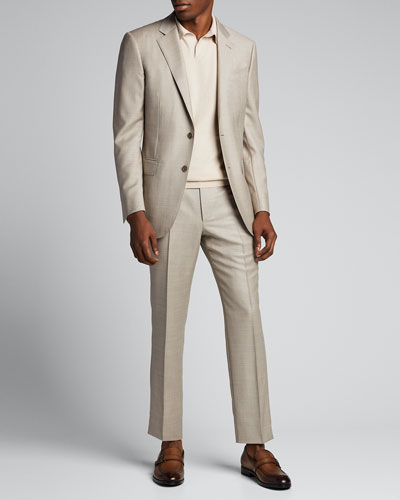 Men's Heathered Solid Regular-Fit Wool Two-Piece Suit
