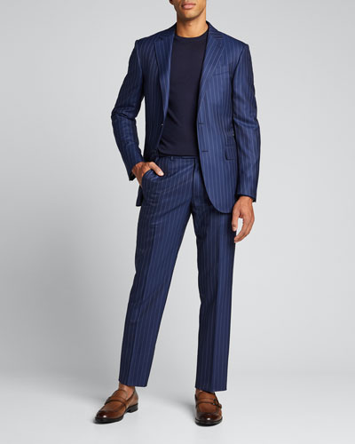 Men's Pinstripe Wool Two-Piece Suit