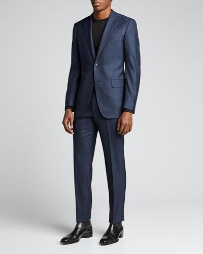 Men's Tonal Check Wool Two-Piece Suit