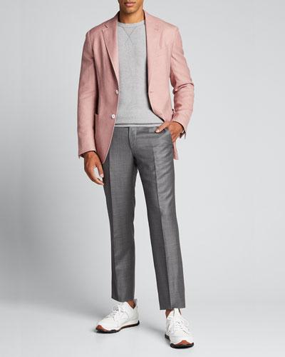 Men's Solid Raglan Crewneck Sweater