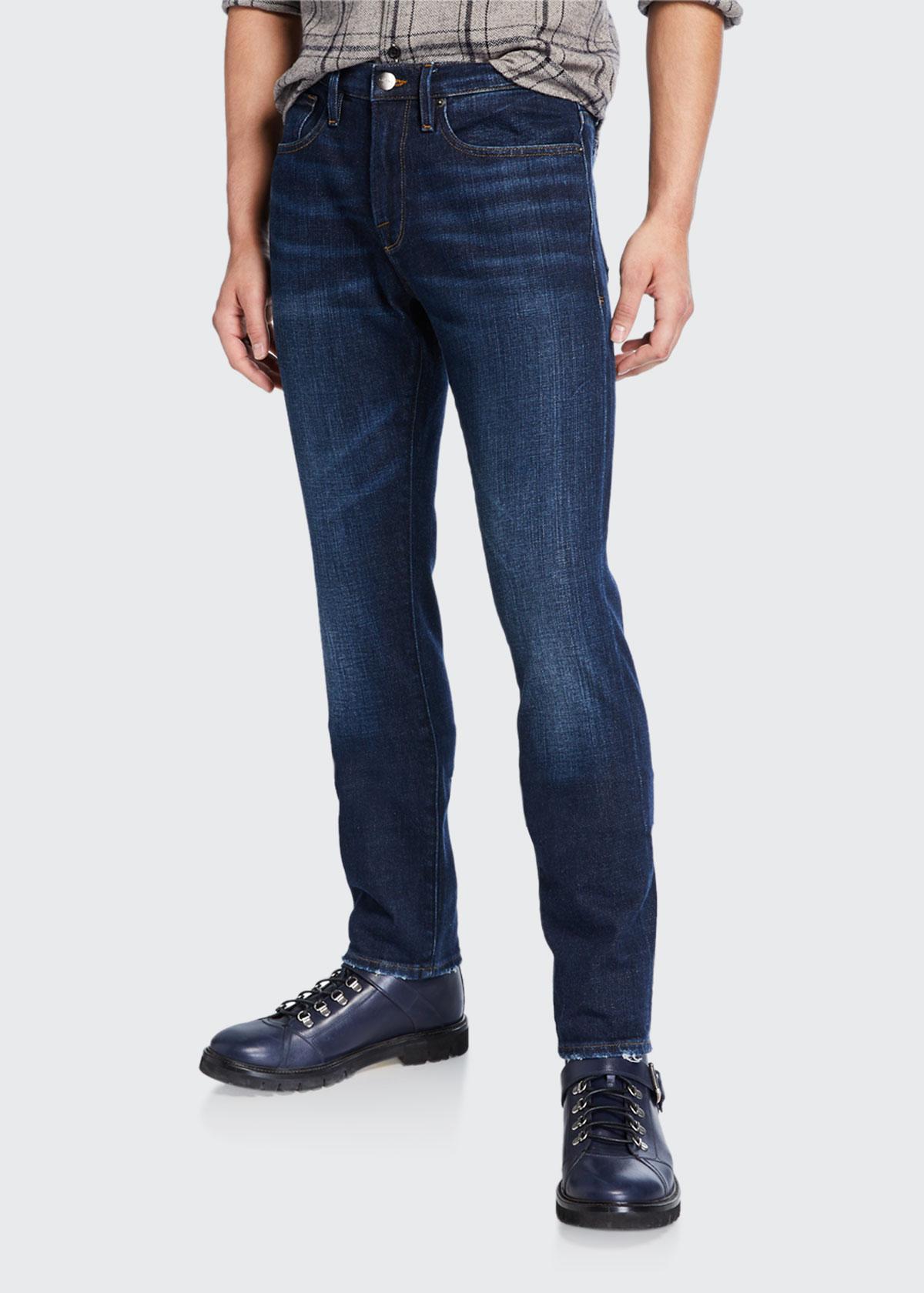 Frame Jeans MEN'S L'HOMME SLIM PULLMAN RIPPED-KNEE JEANS