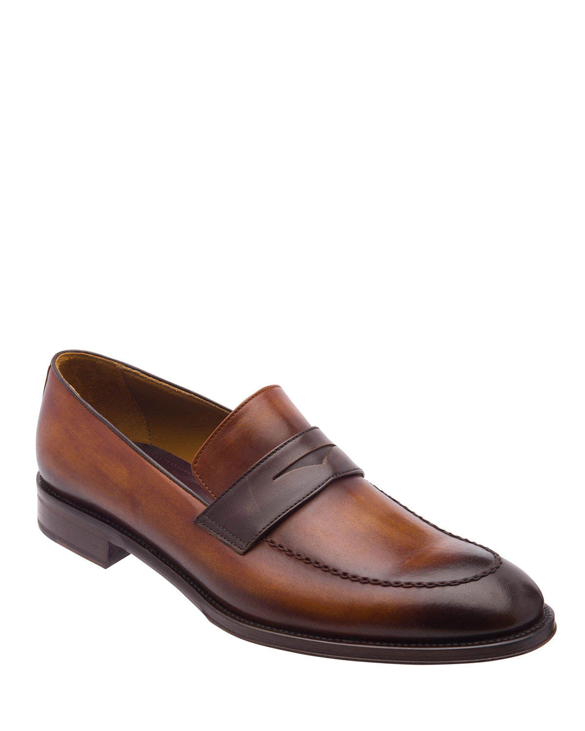 Bruno Magli Loafers MEN'S AREZZO BURNISHED LEATHER PENNY LOAFERS